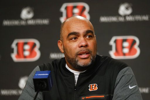 FILE - In this Jan. 11, 2018, file photo, Cincinnati Bengals NFL football defensive coordinator Teryl Austin speaks during an introductory news conference at Paul Brown Stadium, in Cincinnati. The Bengals have fired defensive coordinator Teryl Austin, Monday, Nov. 12, 2018, and put head coach Marvin Lewis in charge of an historically bad unit. The Bengals lost to the Saints 51-14 on Sunday,  one of the worst showings in franchise history.