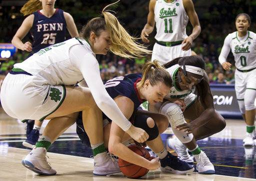 Pennsylvania's Emily Anderson (40) competes for a loose ball with Notre Dame's Danielle Cosgrove, left, and Jackie Young during the second half of an NCAA college basketball game Monday, Nov. 12, 2018, in South Bend, Ind. Notre Dame won 75-55. (AP Photo/Robert Franklin)