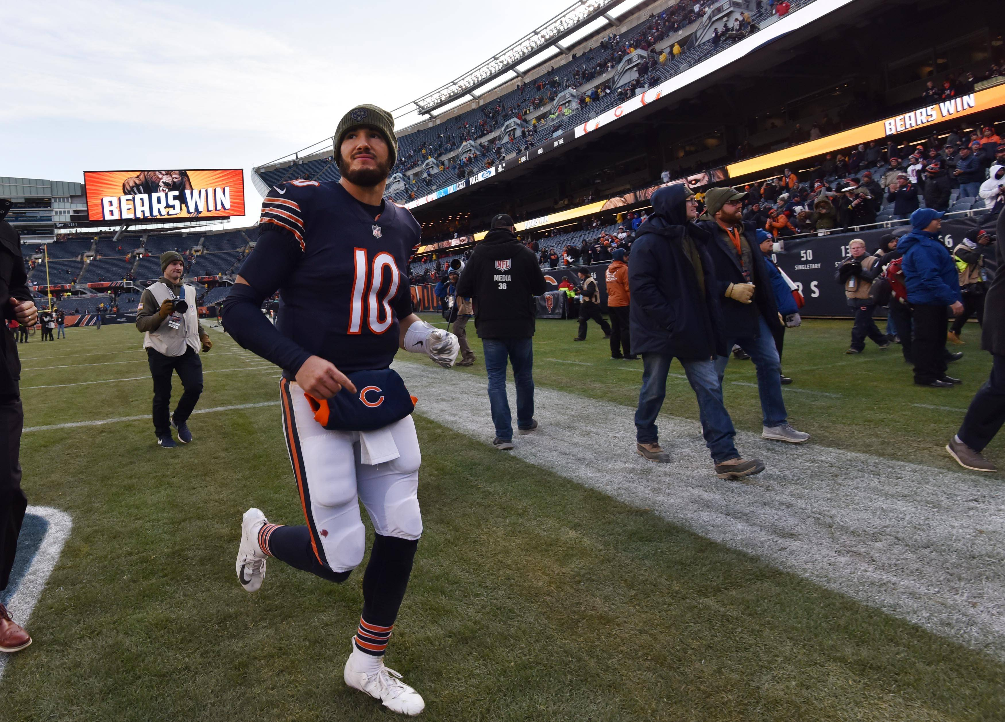 Chicago Bears quarterback Mitchell Trubisky comes off the field after a 34-22 win against the Detroit Lions Sunday at Soldier Field in Chicago.