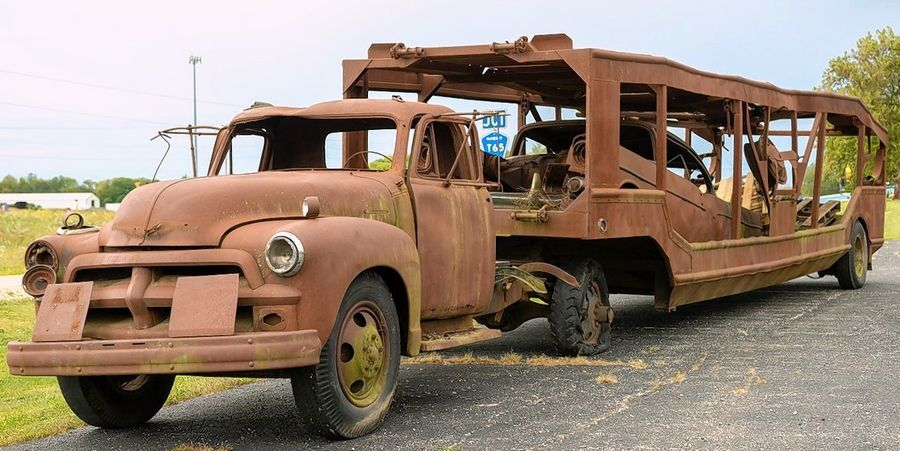 Rare, rustic 1954 car hauler on the block