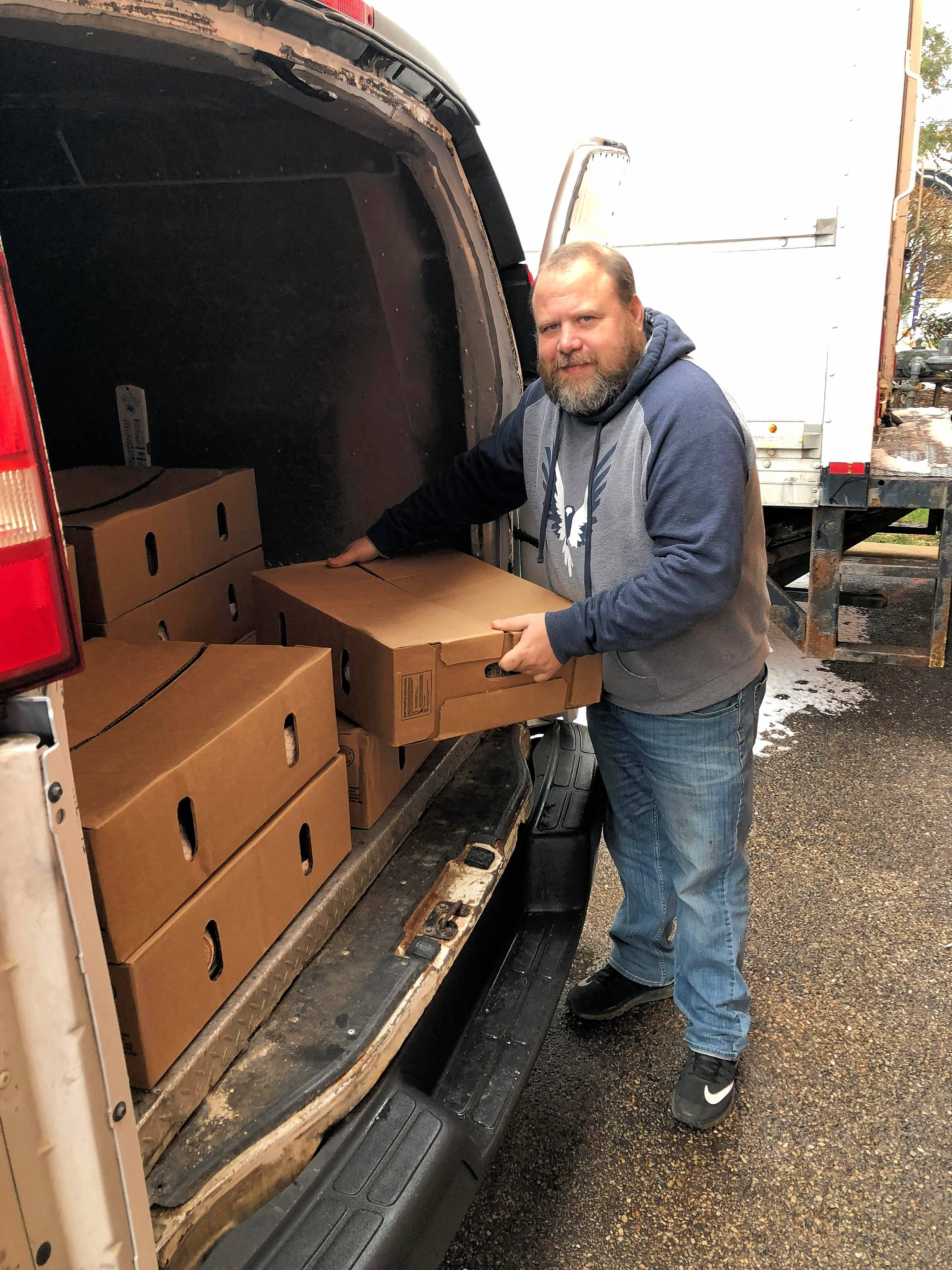 Jeff Turner dropped off 100 turkeys Thursday at Grand Victoria Casino in Elgin. The staff will cook them and carve them for the annual free Thanksgiving dinner next week.