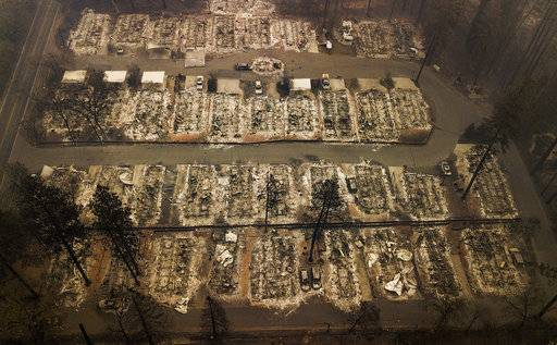 Residences were leveled by the wildfire in Paradise, Calif., on Thursday, Nov. 15, 2018. The California Department of Forestry and Fire Protection said Thursday the wildfire that destroyed the town of Paradise is now 40 percent contained, up from 30 percent Wednesday morning. (AP Photo/Noah Berger)