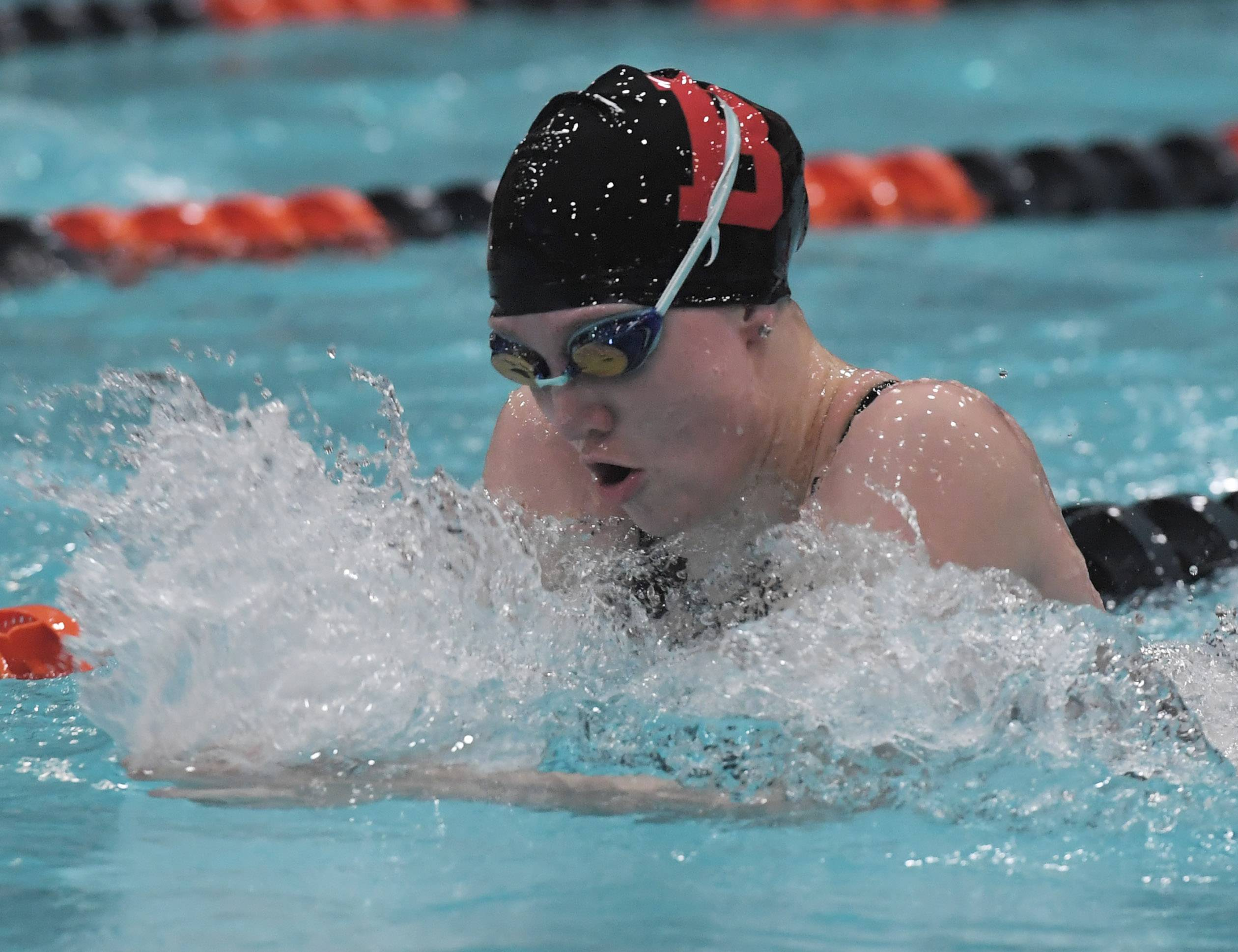 Barrington's Catherine Kitzman swims breaststroke in the 200-yard medley relay.