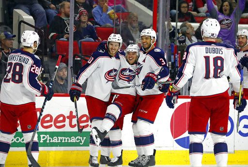 532b6acec22 Columbus Blue Jackets  Cam Atkinson (13) celebrates his third goal of the  game