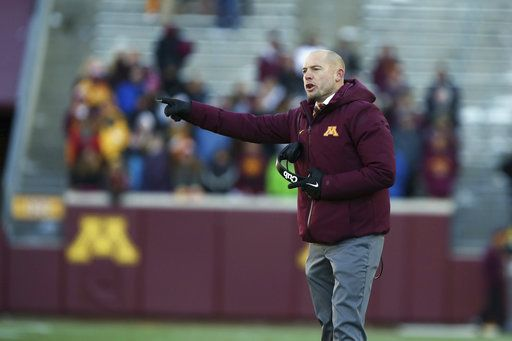 Minnesota head coach P.J. Fleck reacts during an NCAA college football game against Minnesota, Saturday, Nov. 17, 2018, in Minneapolis. Northwestern won 24-14.