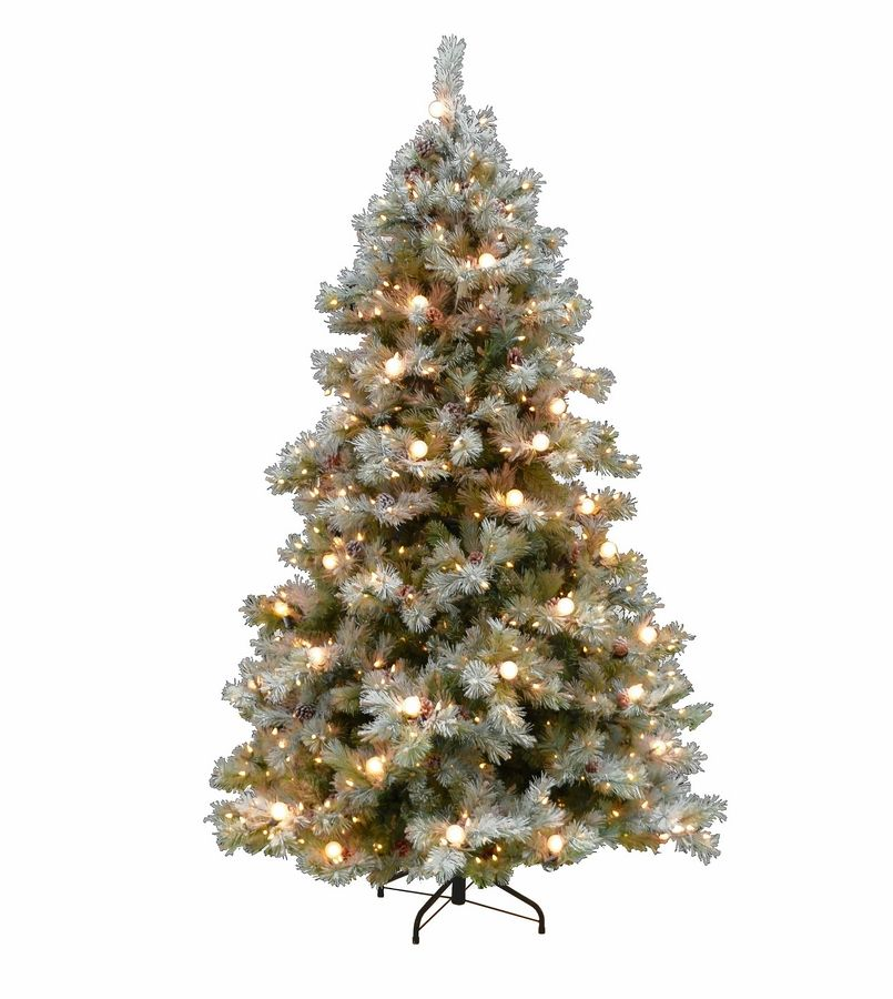 The unique design of the Frosted Elegance artificial Christmas tree features large, globe-shaped, incandescent lights and the frosted flocking has a mixture of a slightly reflective glitter that allows the tree to glisten.