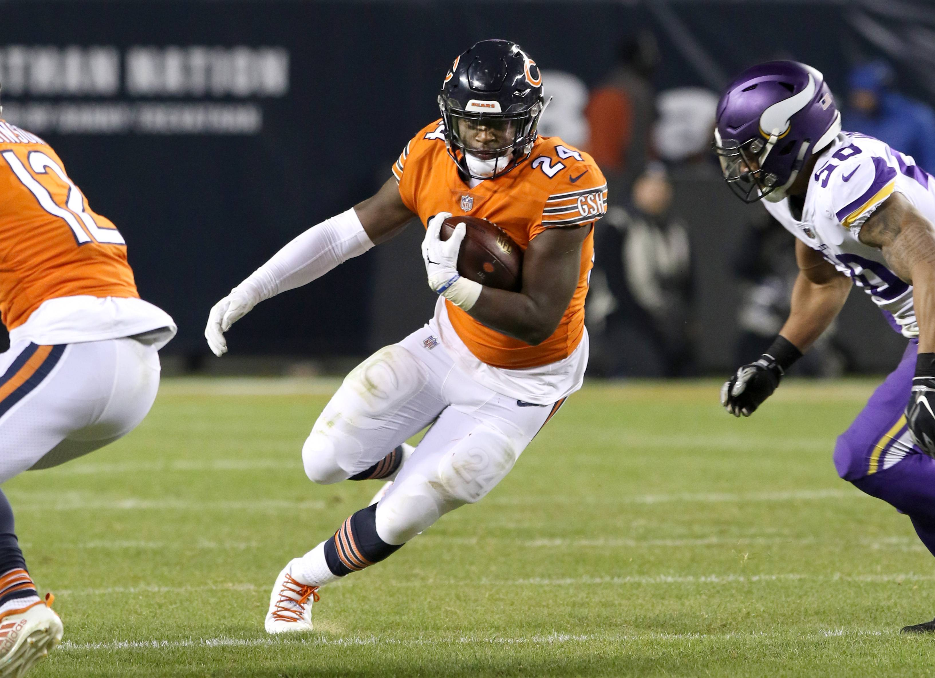Chicago Bears running back Jordan Howard finds some running room during the game against the Minnesota Vikings Sunday night at Soldier Field in Chicago.