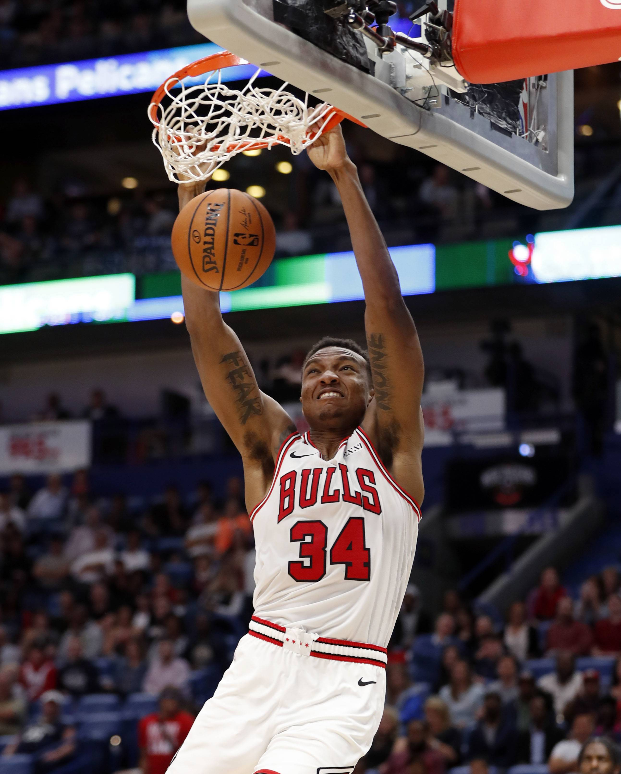 Chicago Bulls forward Wendell Carter Jr. (34) dunks during the second half of an NBA basketball game against the New Orleans Pelicans in New Orleans, Wednesday, Nov. 7, 2018. The Pelicans won 107-98.