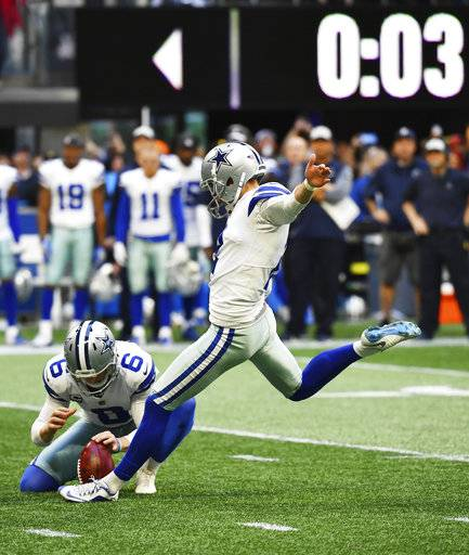 Dallas Cowboys kicker Brett Maher (2) kicks the game-winning field goal against the Atlanta Falcons during the second half of an NFL football game, Sunday, Nov. 18, 2018, in Atlanta. The Dallas Cowboys won 22-19.