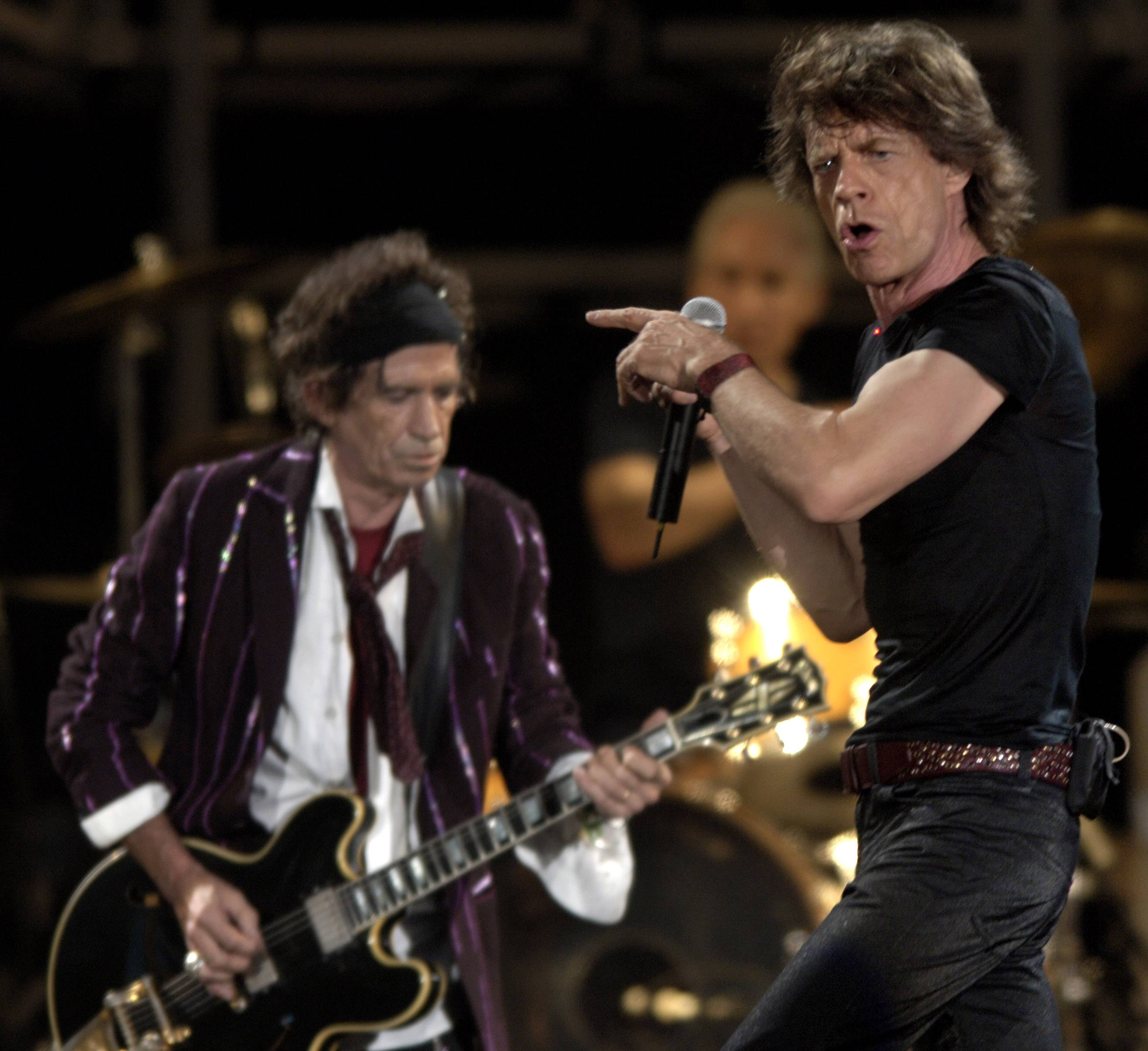 "The Rolling Stones perform at Soldier Field during the ""A Bigger Bang"" tour in 2005."