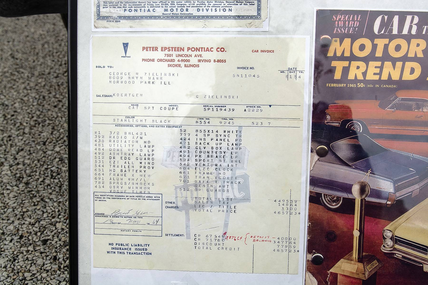 Zielinski kept the Catalina's original window sticker price sheet from Peter Epsteen Pontiac in Skokie, where he paid $4,657 for the car.