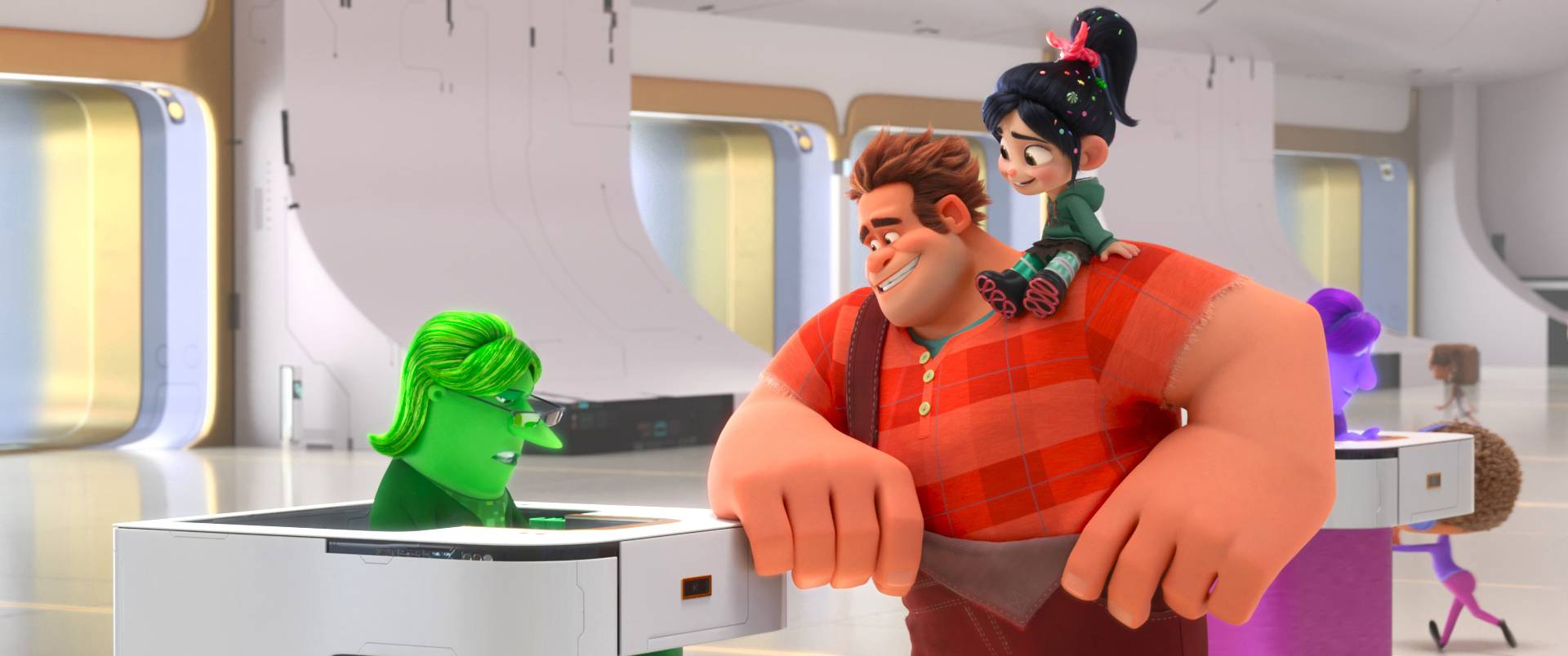 "In ""Ralph Breaks the Internet,"" video game bad guy Ralph (John C. Reilly), center, and fellow misfit Vanellope von Schweetz (Sarah Silverman) venture into the expansive world of the internet, where they meet eBay Elayne (Rebecca Wisocky)."