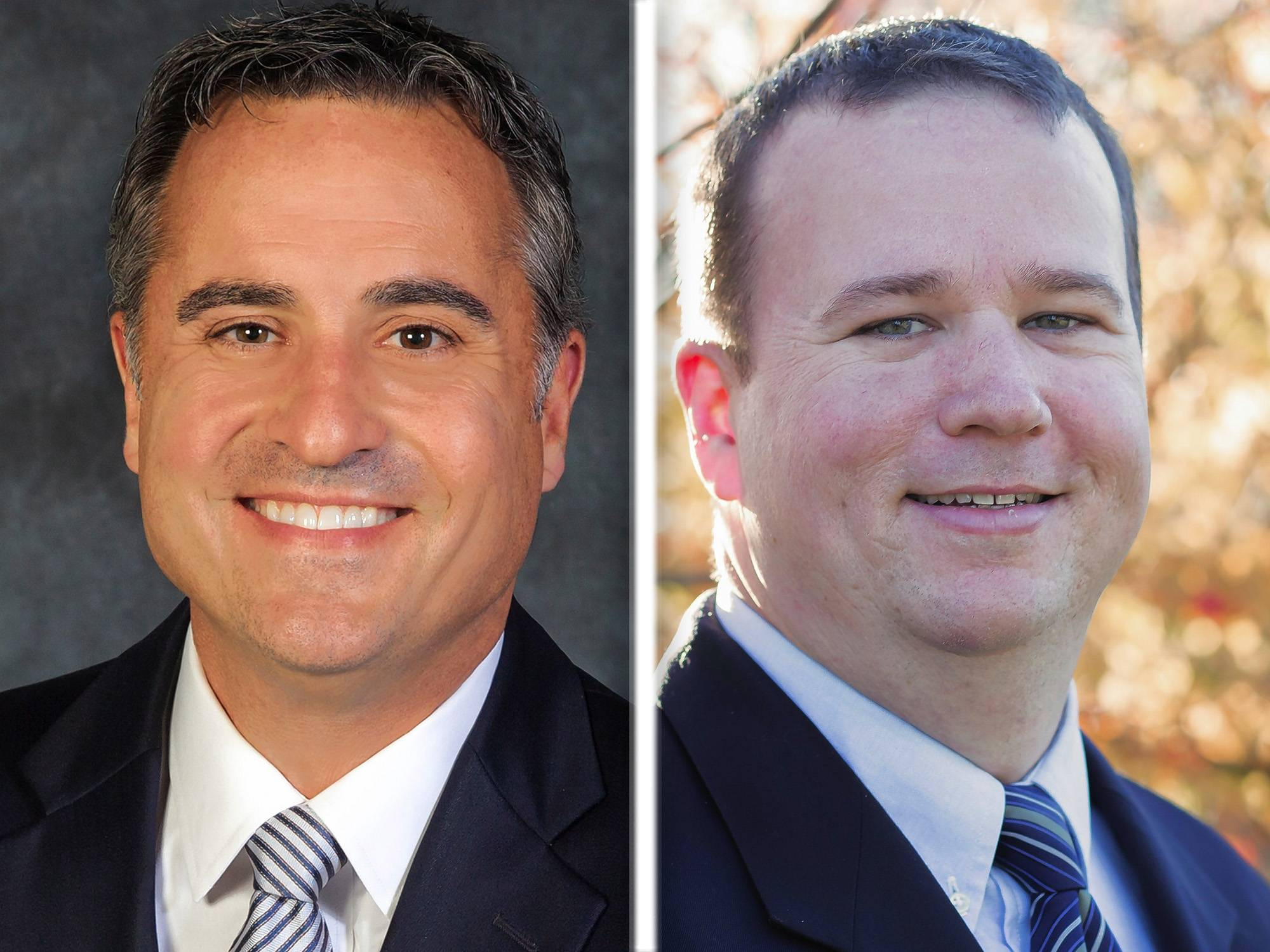 Democratic challenger Daniel Hebreard, right, has unseated Republican incumbent Joseph Cantore to become president of the Forest Preserve District of DuPage County.