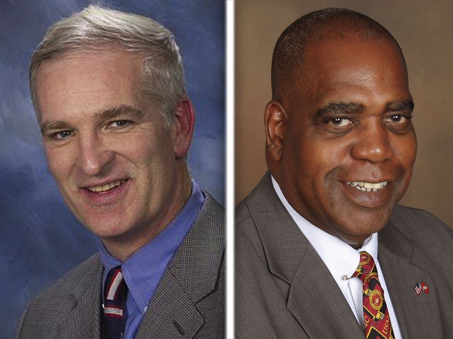 Longtime Lake County Sheriff Mark Curran, left, has been narrowly defeated by Democratic challenger John Idleburg, according to final vote totals released Tuesday.