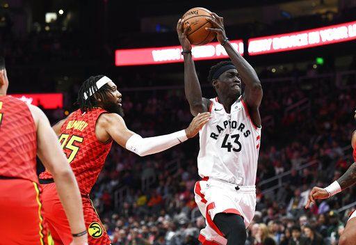 3a31b1fe03d Toronto Raptors forward Pascal Siakam (43) goes to the basket as Atlanta  Hawks forward