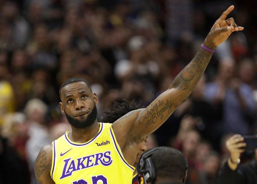 d24960ae9e6 Los Angeles Lakers  LeBron James acknowledges the Cleveland fans during a  video tribute to James