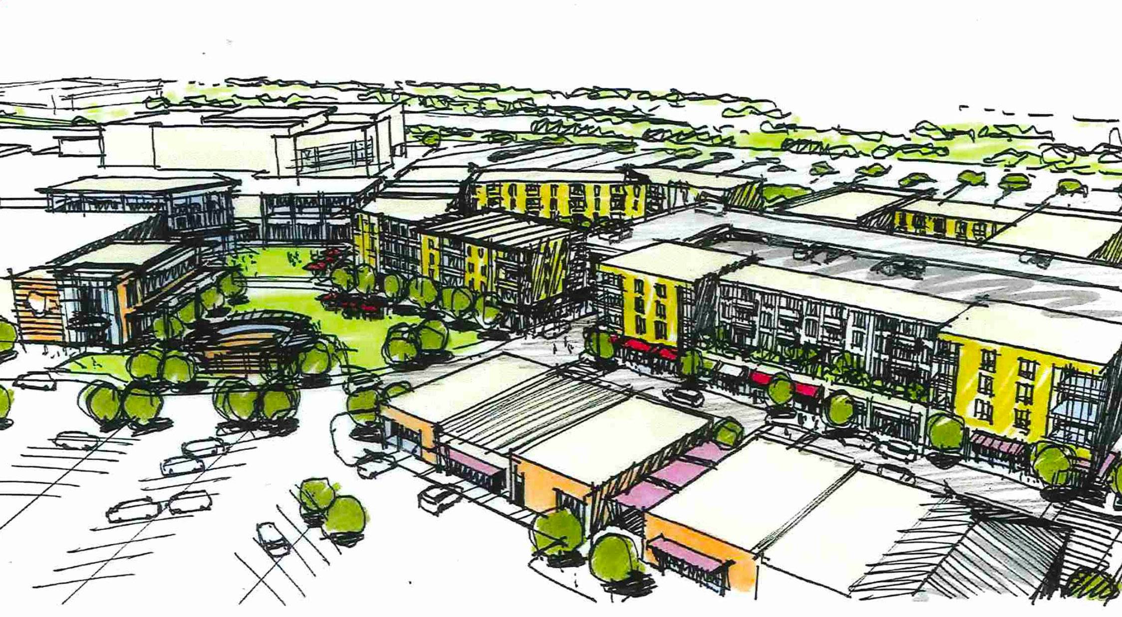 Rendering of one of the concepts to be considered for redevelopment of a portion of the Hawthorn Mall property in Vernon Hills.