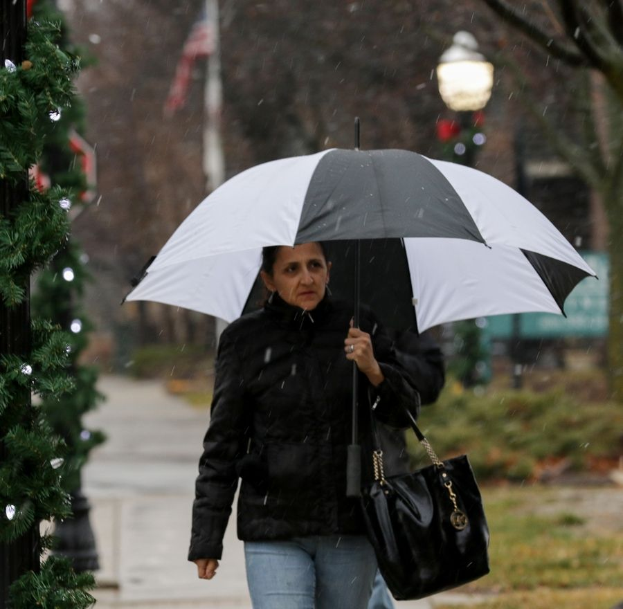 Veronica Lopez of Elmhurst shields herself from rain and snow Sunday afternoon while walking in Bensenville. The wintry mix across the suburbs early Sunday was expected to turn into heavy snow by Sunday night.
