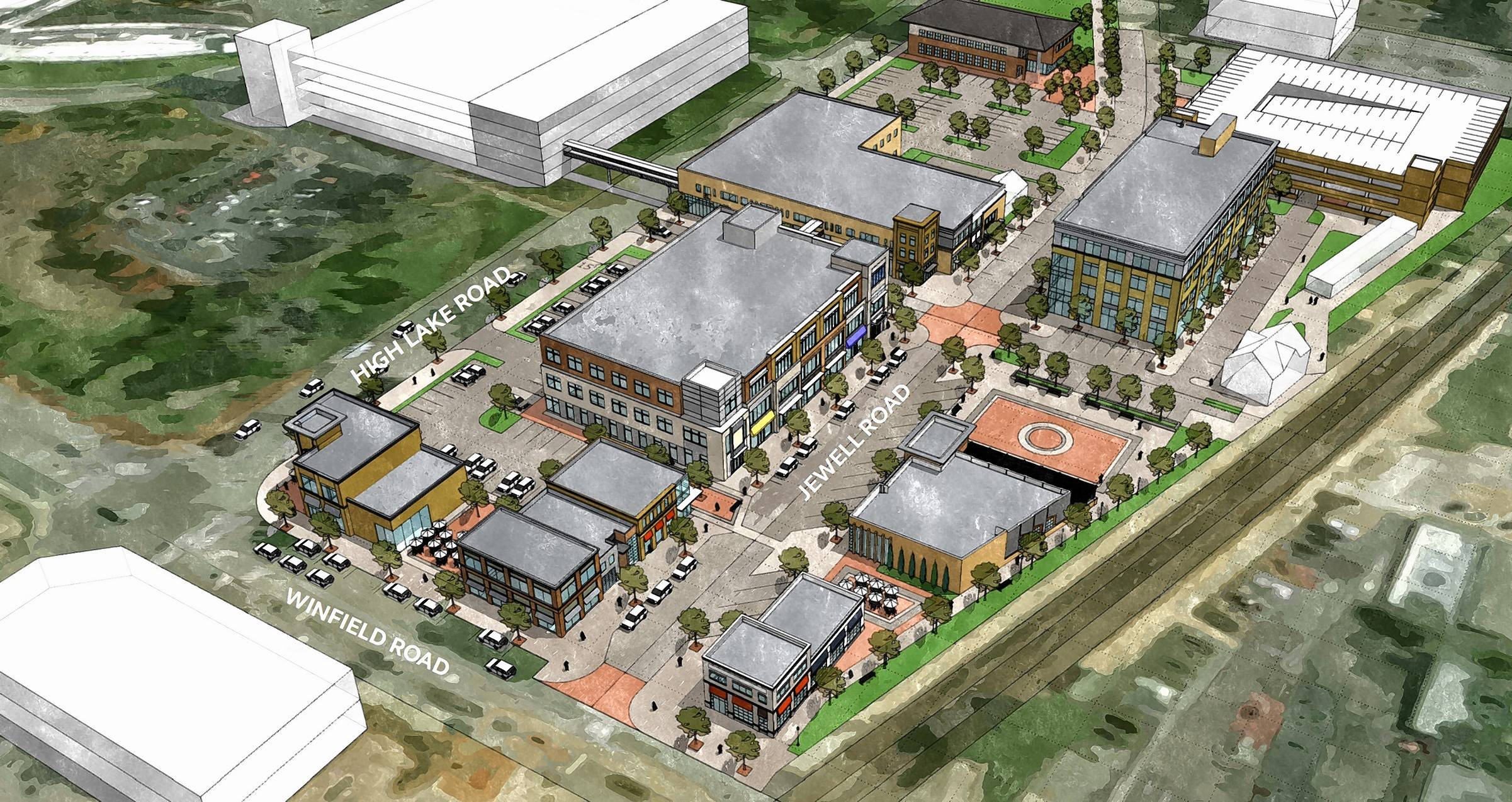 Conceptual plans show a major redevelopment that would change the face of Winfield's Town Center to the south of Central DuPage Hospital.