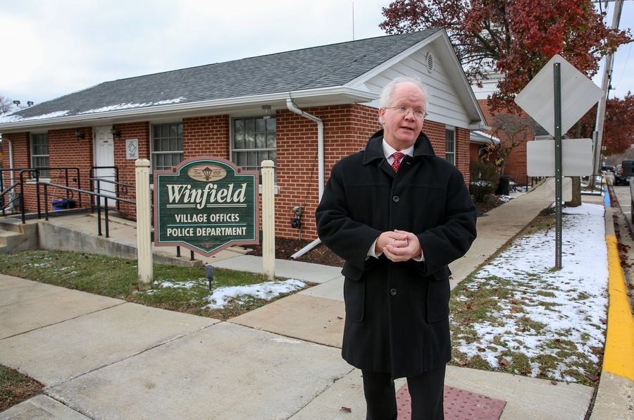 The Town Center redevelopment calls for tearing down village hall and building a new one roughly double the size, Winfield Village President Erik Spande says.