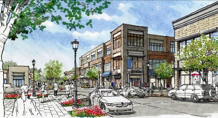 A preliminary rendering shows the concept for a redevelopment of Jewell Road at Church Street.