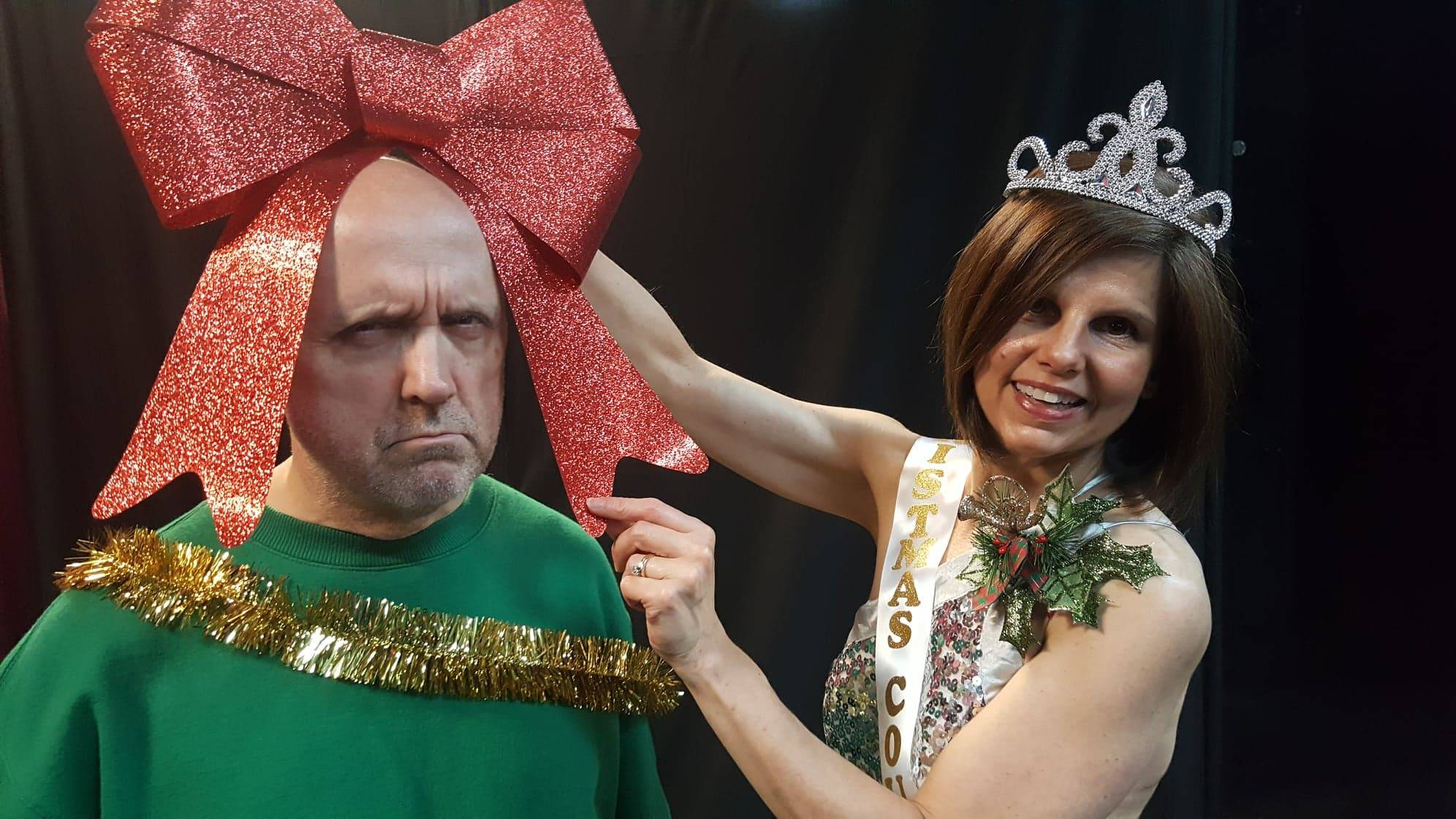 "Douglas (Danny Glenn) is not amused to receive a bow from Crystal (Jen Connon) in ""Seasonal Bows"" at Vero Voce Theater in St. Charles."