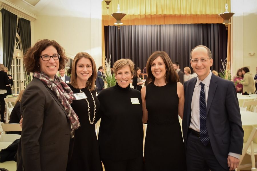 Highland Park Community Foundation board members Robin Schuster and Jamie Strait, Jody Weinberg of Focus on the Arts, Nancy Mills, HPCF Chairman and HP City Councilman Dan Kaufman at the recent 2018 Grant Awards Reception at the Highland Park Community House.