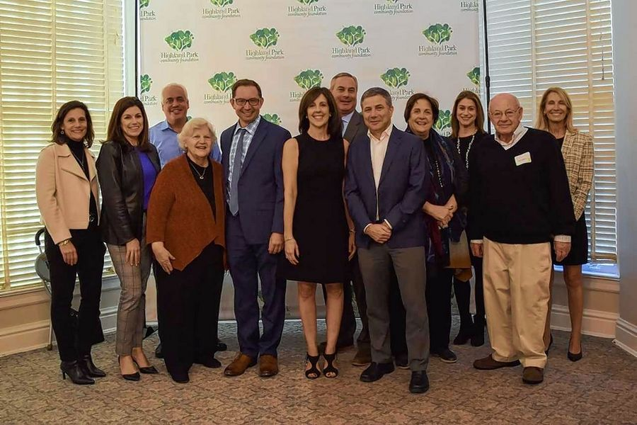 The Highland Park Community Foundation, from left: Karen Reisin, Alyssa Knobel, Craig Leva, Cookie Kohn, Tom Koulentes, Chairman Nancy Mills, Jon Levey, Vice-Chairman David Reich, Jean Meadows, Jamie Strait, former Chairman and Advisory Board member Andy Livingston, and Deb Cogan.