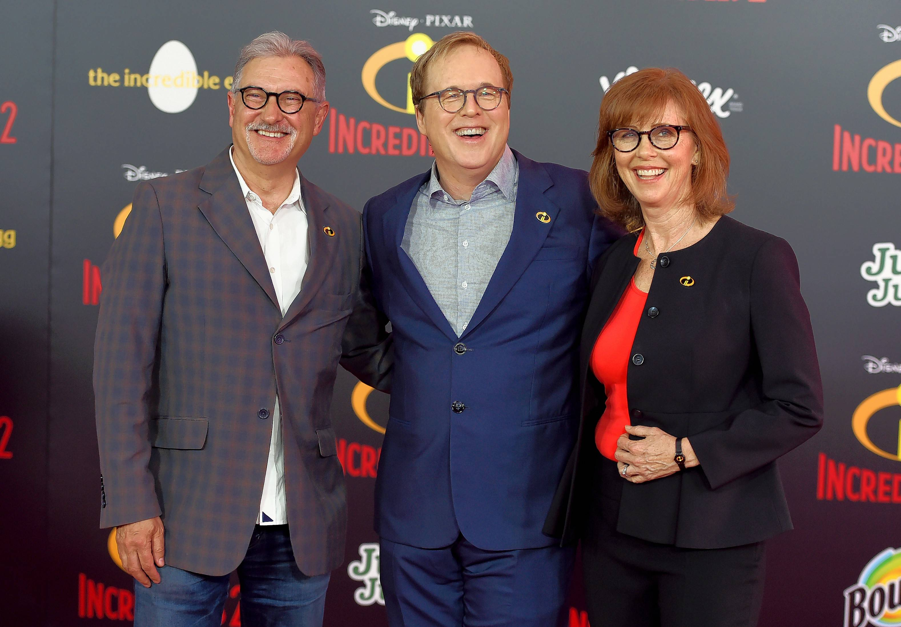"From left, producer and Elgin native John Walker, director Brad Bird and producer Nicole Paradis Grindle attend the premiere of ""Incredibles 2."""
