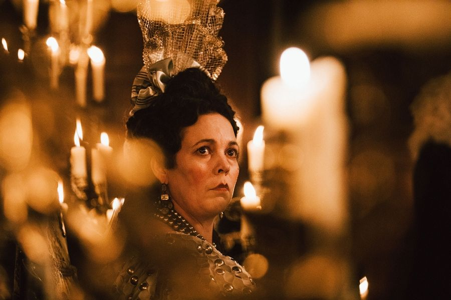 "The needy Queen Anne (Olivia Colman) struggles with grief and gout in ""The Favourite."""