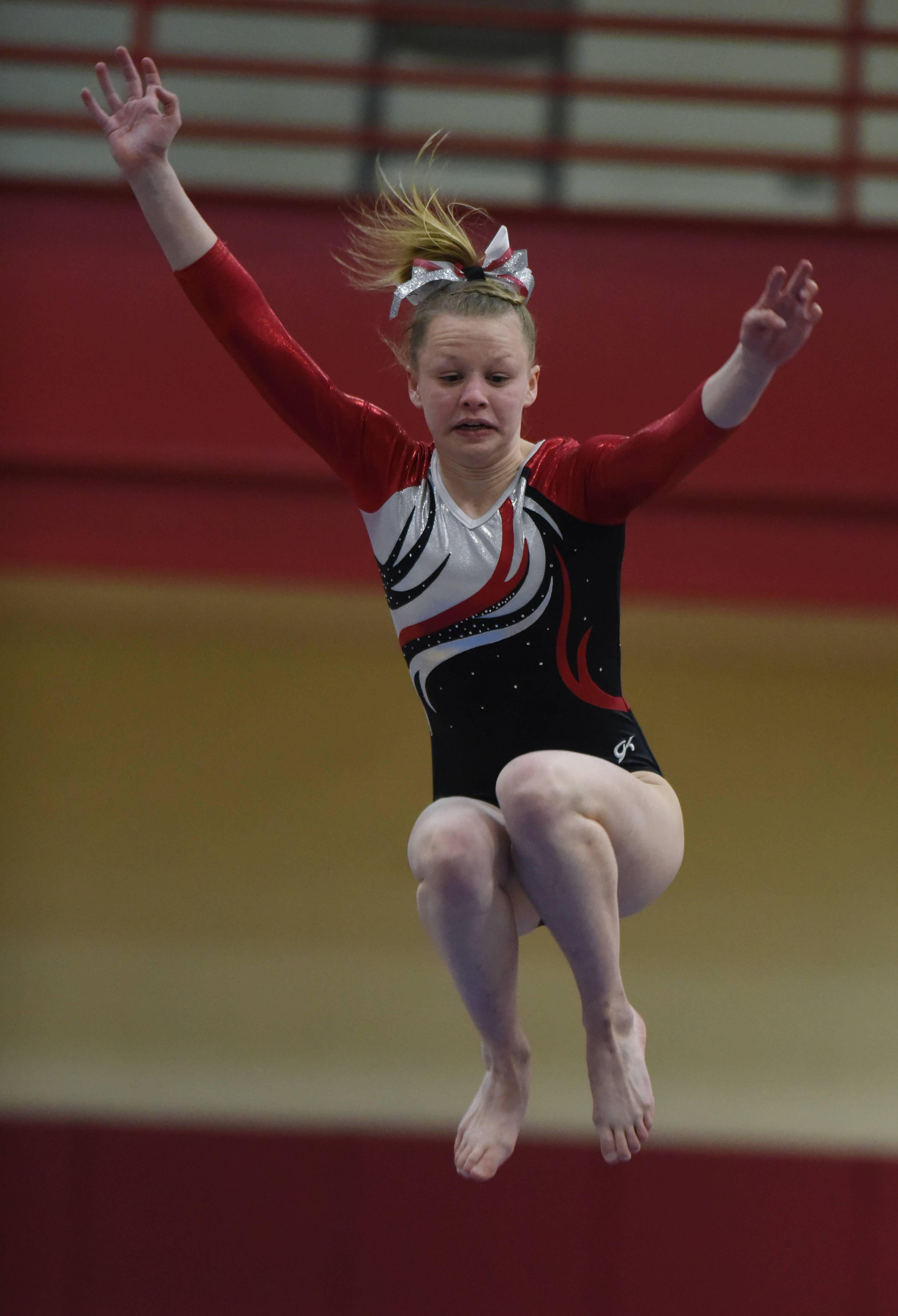 Palatine's Elly Nilsen competes on the balance beam during Wednesday's home meet with Rolling Meadows.