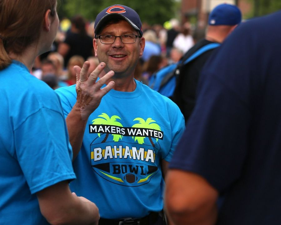 Elk Grove public works employee Tony Potucek sports his Makers Wanted Bahama Bowl tee shirt at a summer concert this year.