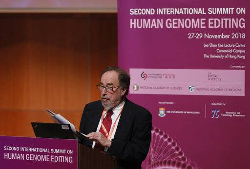David Baltimore, Nobel laureate and chair of the organizing committee delivers the statement by the Organizing Committee during the Human Genome Editing Conference in Hong Kong, Thursday, Nov. 29, 2018.