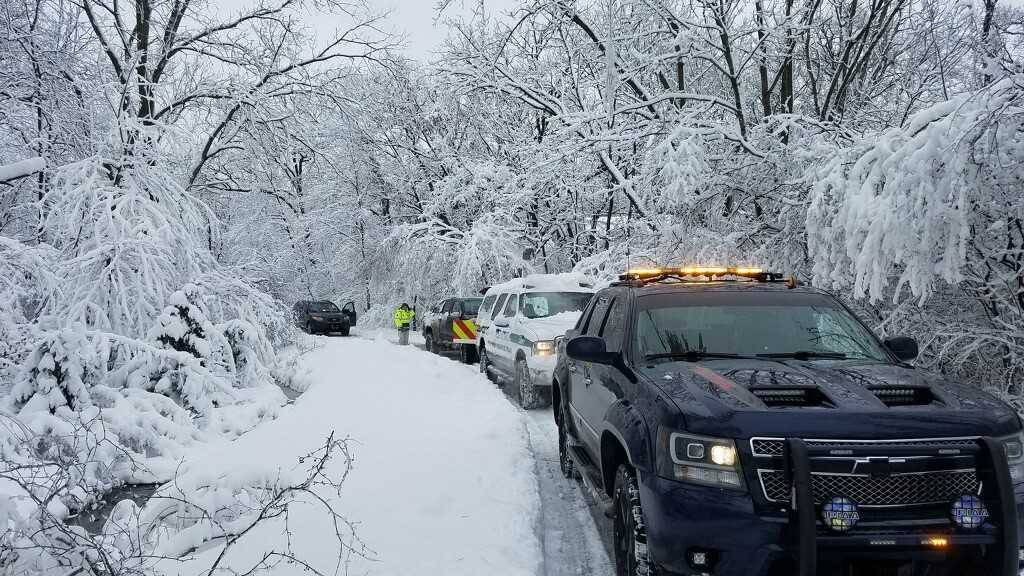 Members of the South Lake County Regional Community Emergency Response Team called to clear downed limbs in Kildeer on Monday also discovered a snowed-in resident whose husband had recently died.
