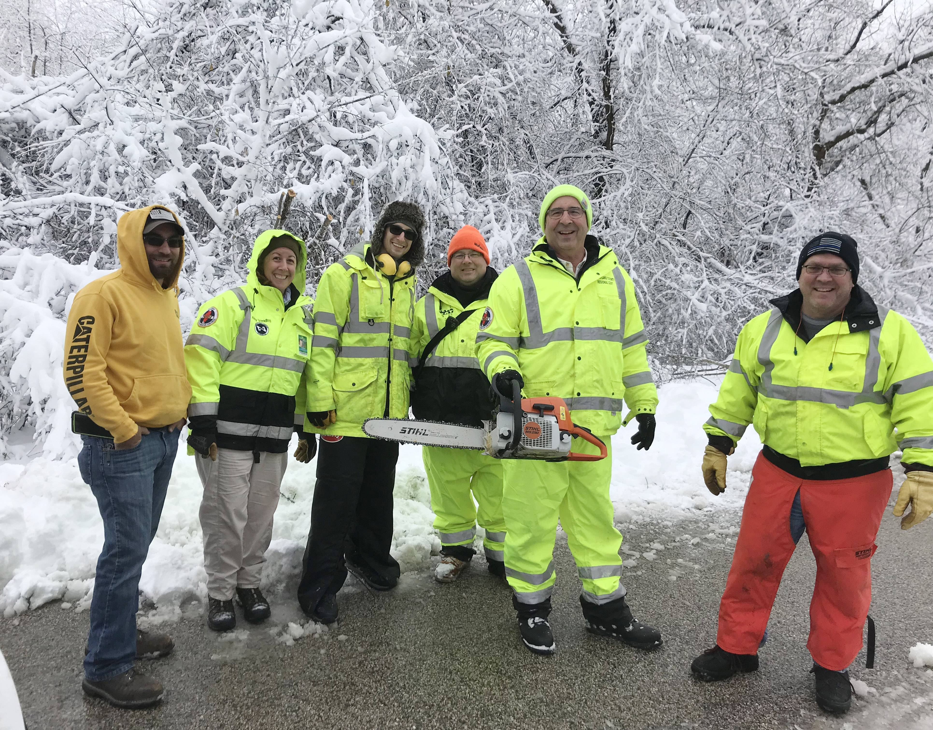 Emergency response team members who worked on the driveway are from left, Eric Schildkraut, Amy Venditti, Jeff Fox, Bob Dobson, Rob Lang and Gregg Heineman. Not shown is Doug Ahlgrim.