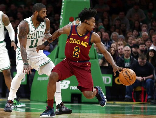 89d465754c14 Cleveland Cavaliers guard Collin Sexton (2) spins as Boston Celtics guard  Kyrie Irving (