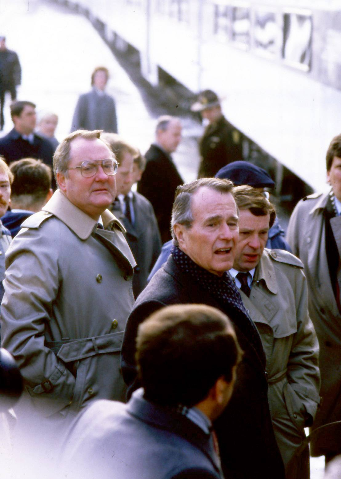 Presidential candidate George H.W. Bush and Gov. Jim Thompson in Des Plaines March 15, 1988.