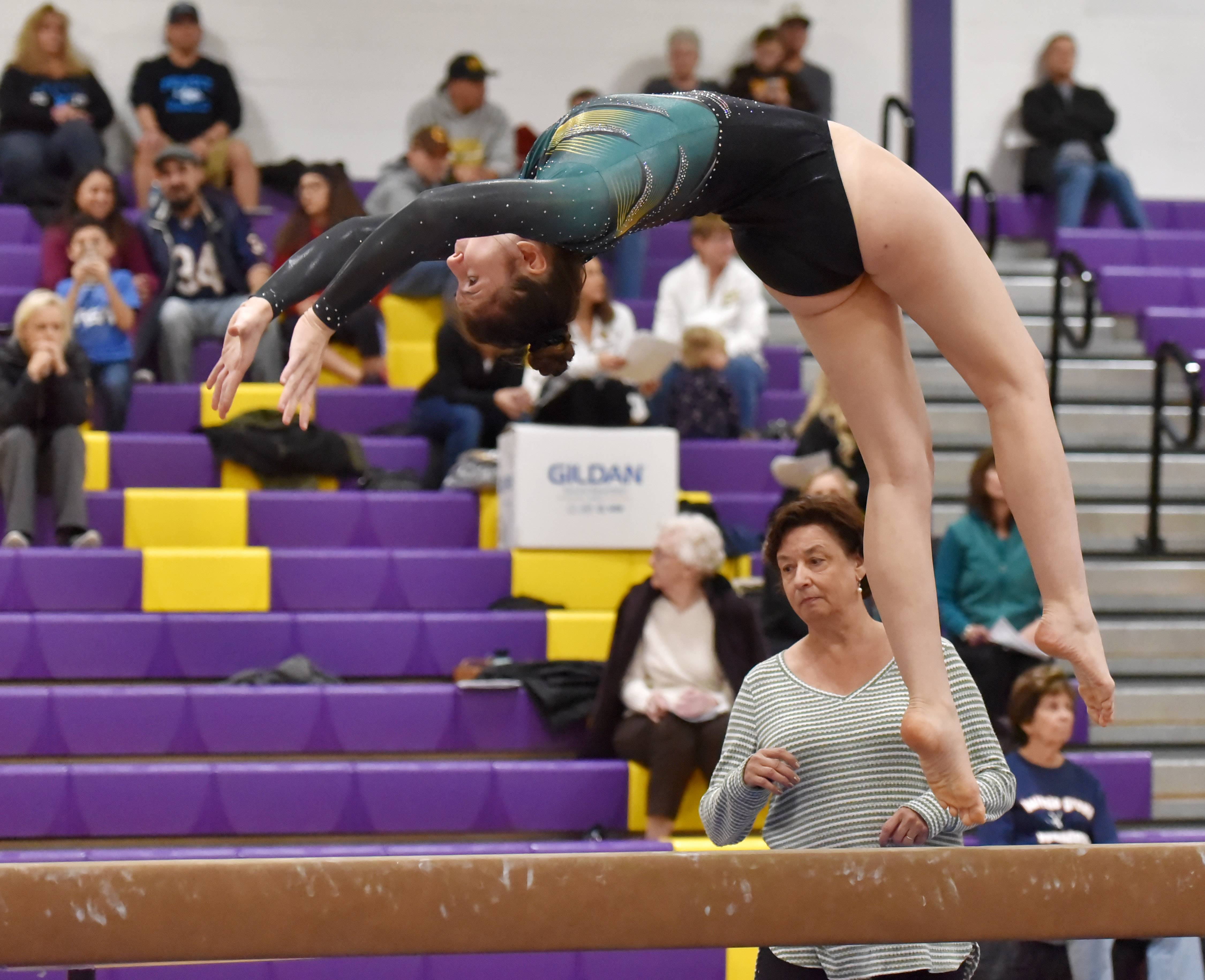 Stevenson's Sophie Whiting performs on the Balance Beam Saturday at the Rolling Meadows High School girls gymnastics Al Galatte Holiday Invitational.
