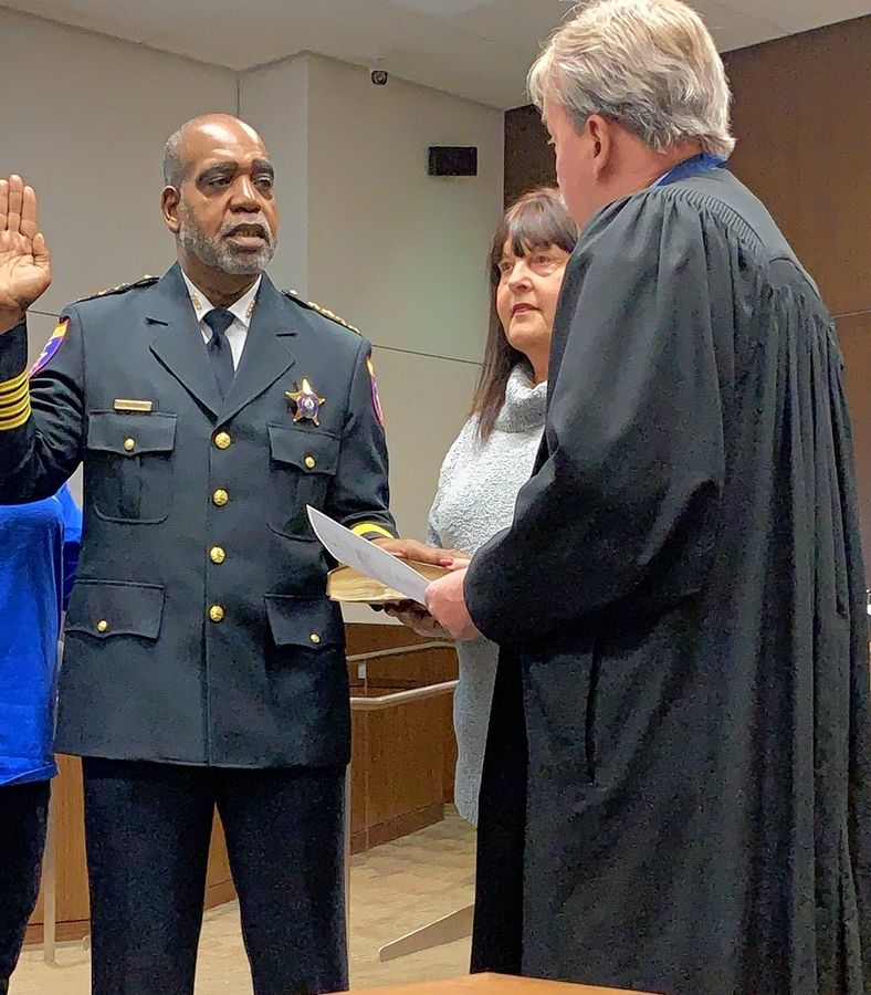 John Idleburg was sworn in as sheriff of Lake County in a private ceremony Saturday before Chief Judge Jay Ukena at the Lake County Courthouse in Waukegan.