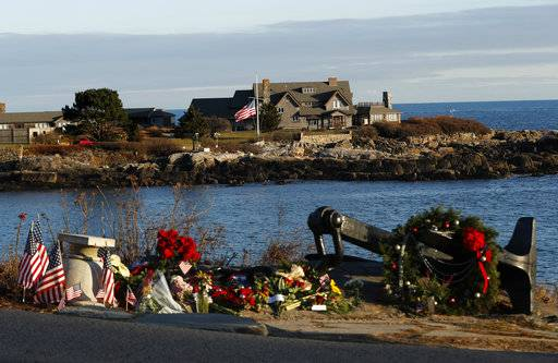 A makeshift memorial for President George H. W. Bush lay across from Walker's Point, the Bush's summer home, Saturday, Dec. 1, 2018, in Kennebunkport, Maine. Bush died at the age of 94 on Friday, about eight months after the death of his wife, Barbara Bush.