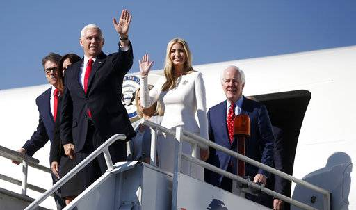 U.S. Vice President Mike Pence and Ivanka Trump, the daughter and assistant to President Donald Trump, along with Energy Secretary Rick Perry, far left, and Texas Senator John Cornyn, right, arrive at the Benito Juarez International Airport in Mexico City, Saturday, Dec. 1, 2018, to attend the inauguration ceremony of Mexico's incoming President Manuel Lopez Obrador. The first foreign dignitaries he greeted during his inaugural speech Saturday were Pence and Ivanka Trump.