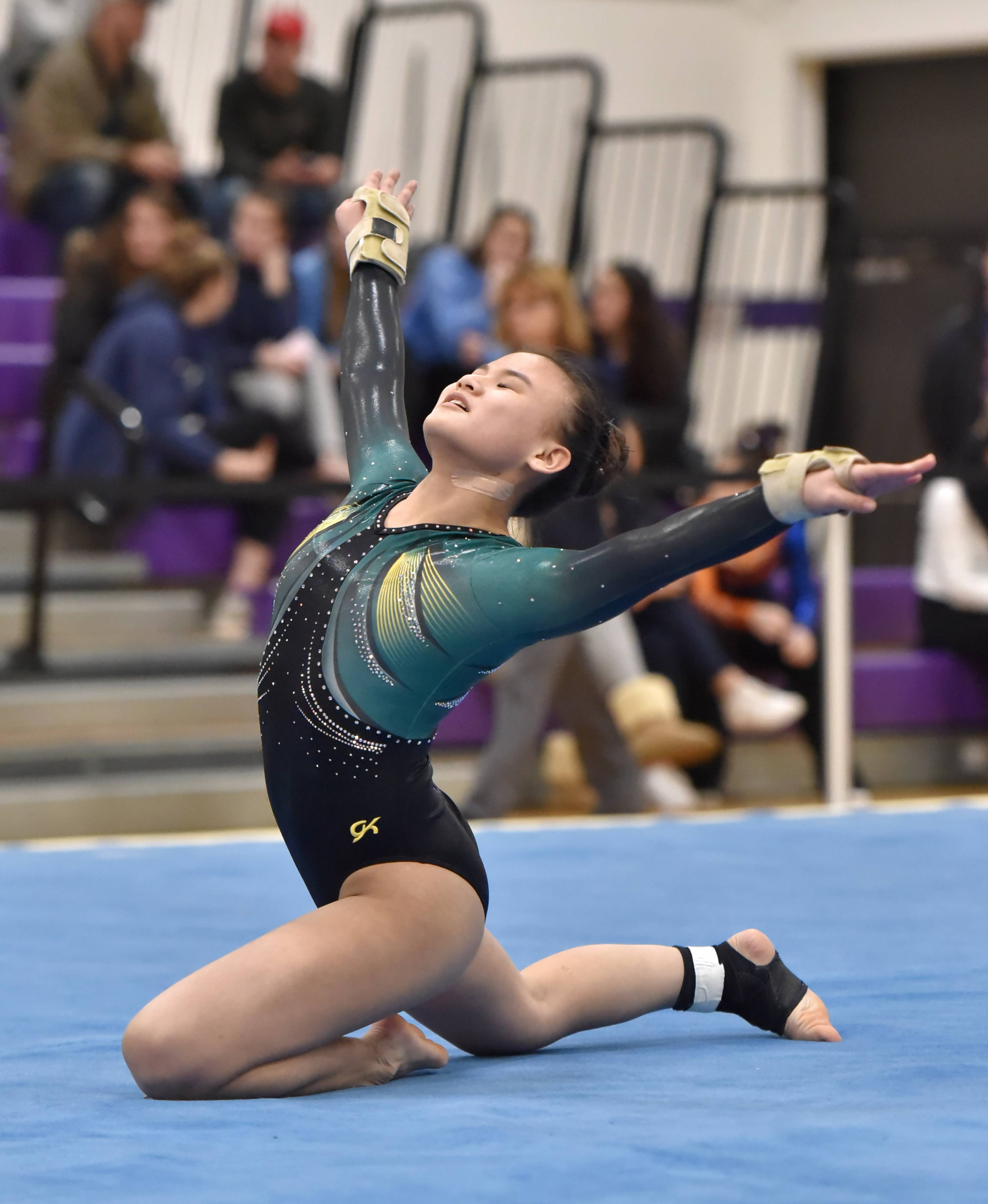 Stevenson's Jessica Maher performs in the Floor Exercise Saturday at the Rolling Meadows High School girls gymnastics Al Galatte Holiday Invitational.