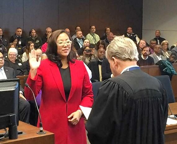 New Lake County Treasurer Holly Kim was sworn into office Monday.
