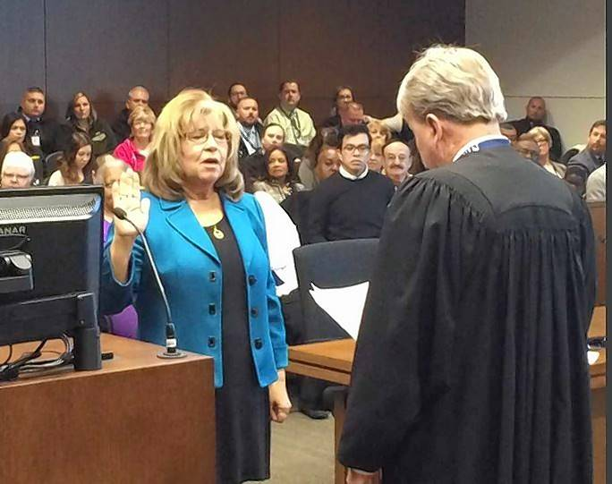 New Lake County Clerk Robin O'Connor was sworn into office Monday.