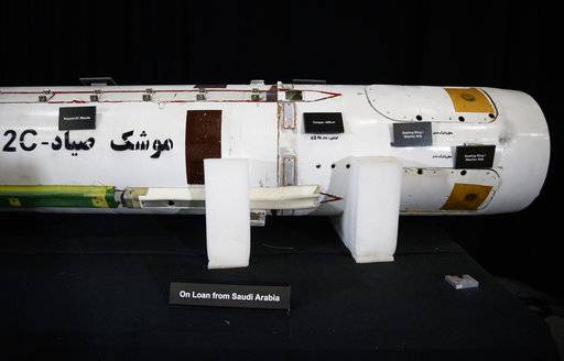 "A Surface to Air Missile (Sayyad 2C) is displayed with a sign that reads ""On Loan Form Saudi Arabia"" at the Iranian Materiel Display (IMD) at Joint Base Anacostia-Bolling, in Washington, Thursday, Nov. 29, 2018. The Trump administration accused Iran of stepping up violations of a U.N. ban on arms exports by sending rockets and other weaponry to rebels in Afghanistan and Yemen. The presentation displays weapons and fragments of weapons seized in Afghanistan, Bahrain and Yemen that it said are evidence Iran is a ""grave and escalating threat"" that must be stopped."