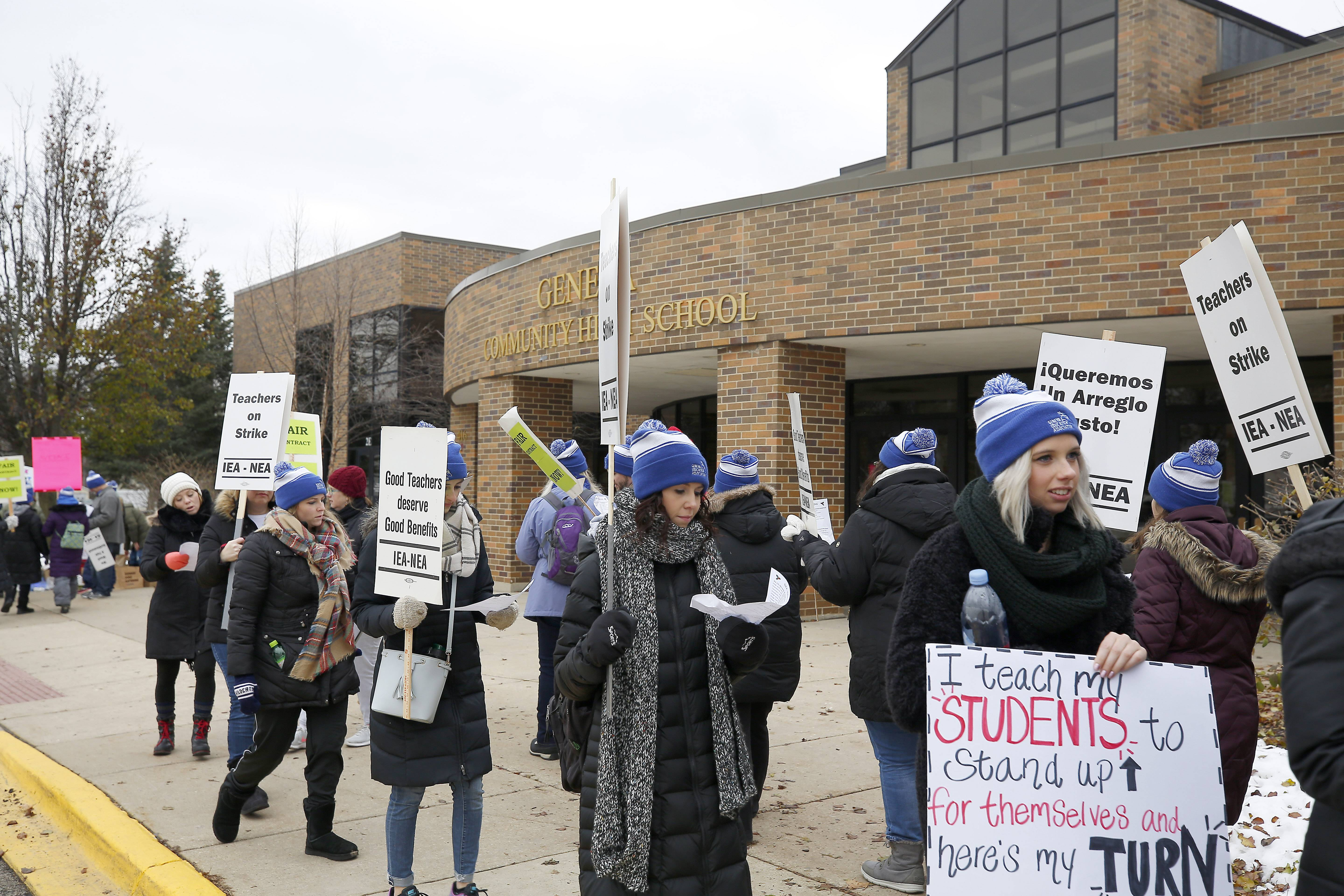Geneva teachers will be back on the picket lines Wednesday for the second day of a strike that has canceled classes for nearly 6,000 students.