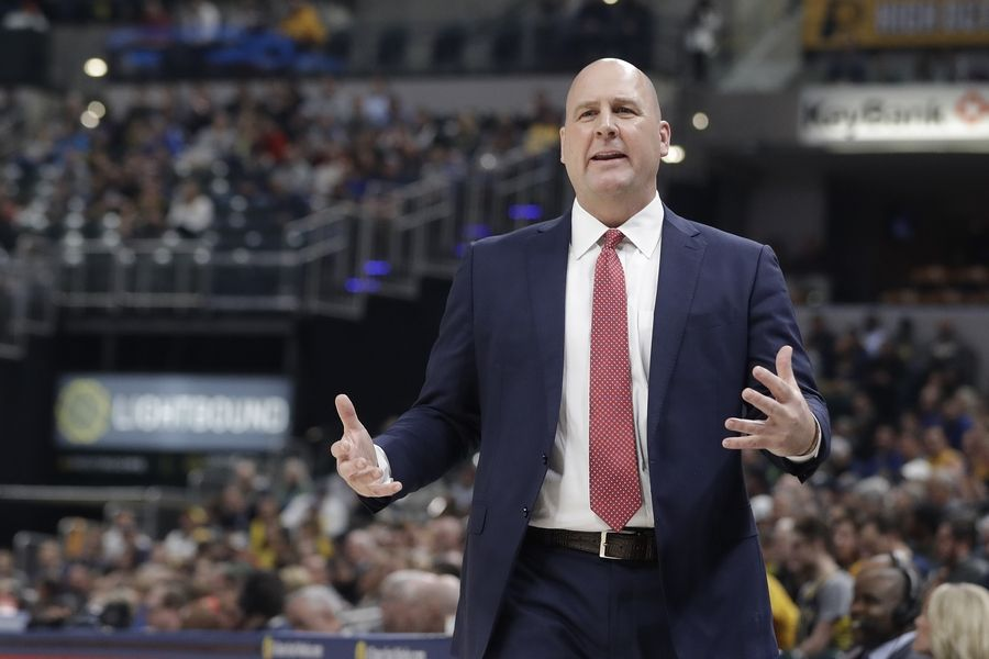 Chicago Bulls head coach Jim Boylen questions a call during the first half of an NBA basketball game against the Indiana Pacers, Tuesday, Dec. 4, 2018, in Indianapolis.