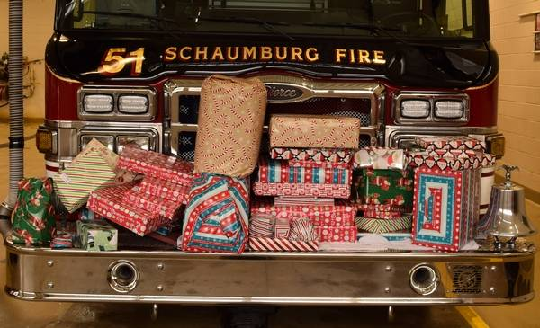 some of the gifts for one of twelve families that schaumburg firefighters were able to shop