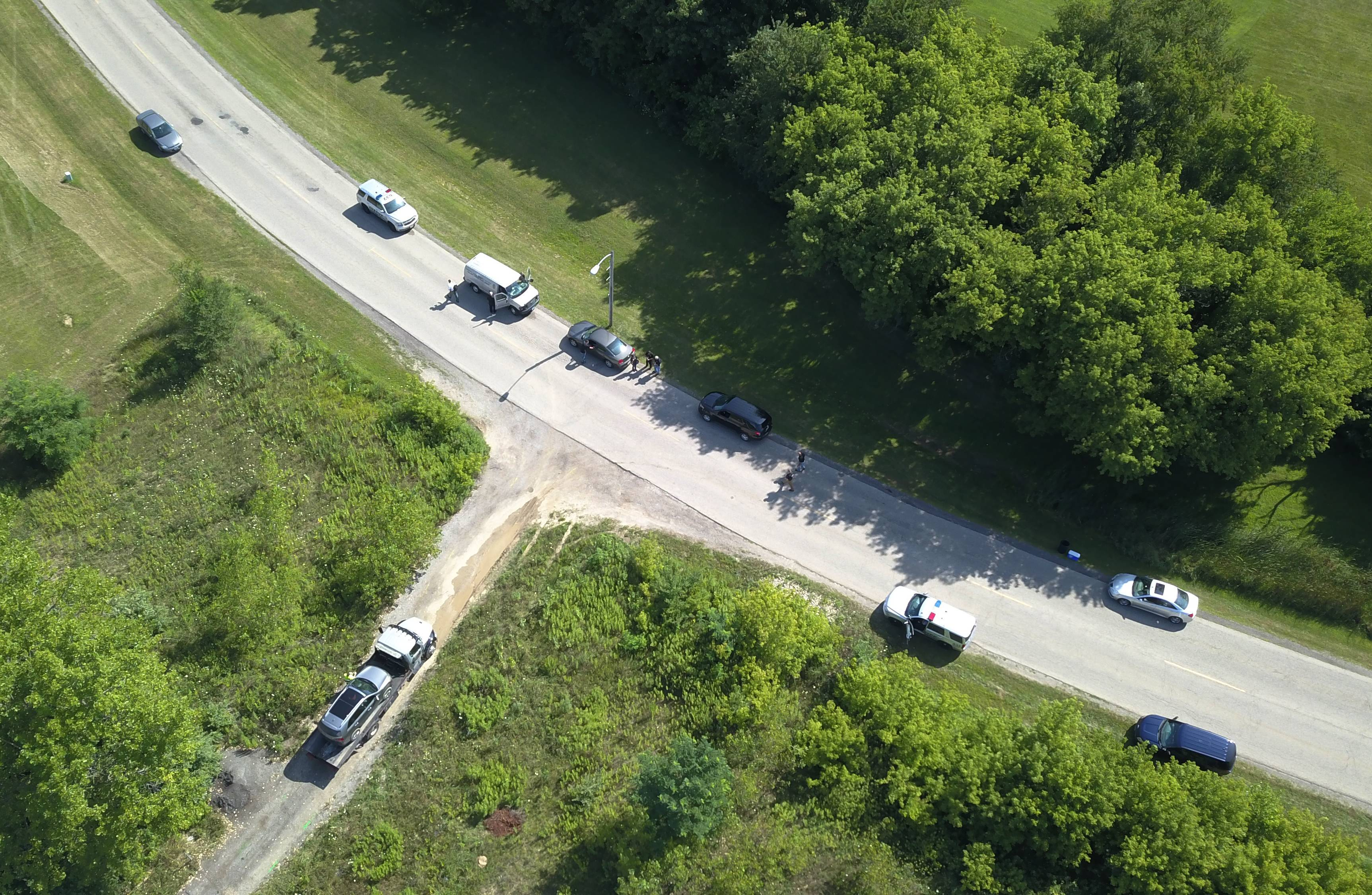 A view from a drone of the scene of the police-involved shooting in Lakemoor in late July.