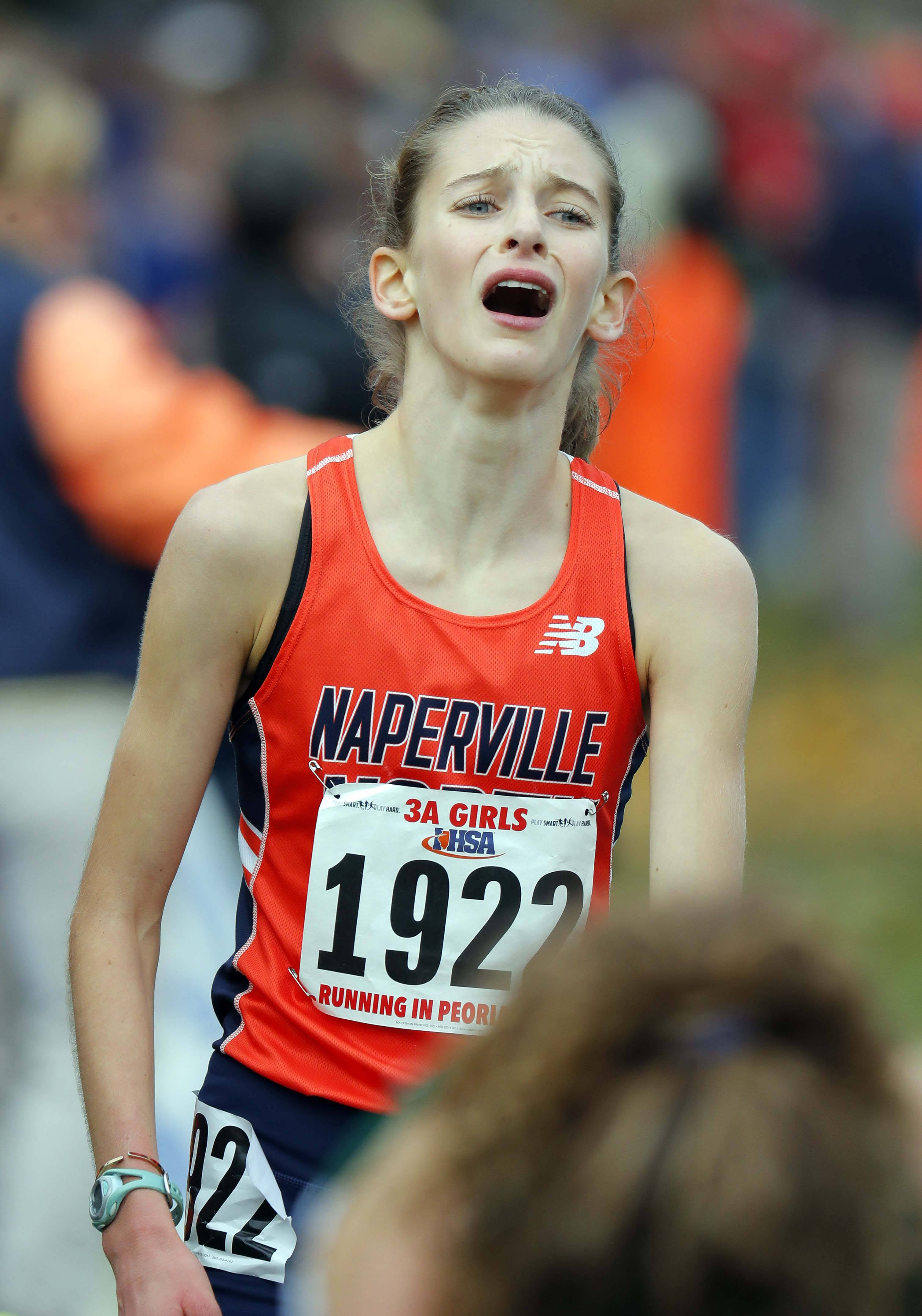 Naperville North's Alex Morris crosses the finish line during the girls Class 3A cross country finals in November at Detweiller Park in Peoria.